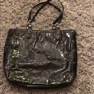 Coach patent leather tote bag